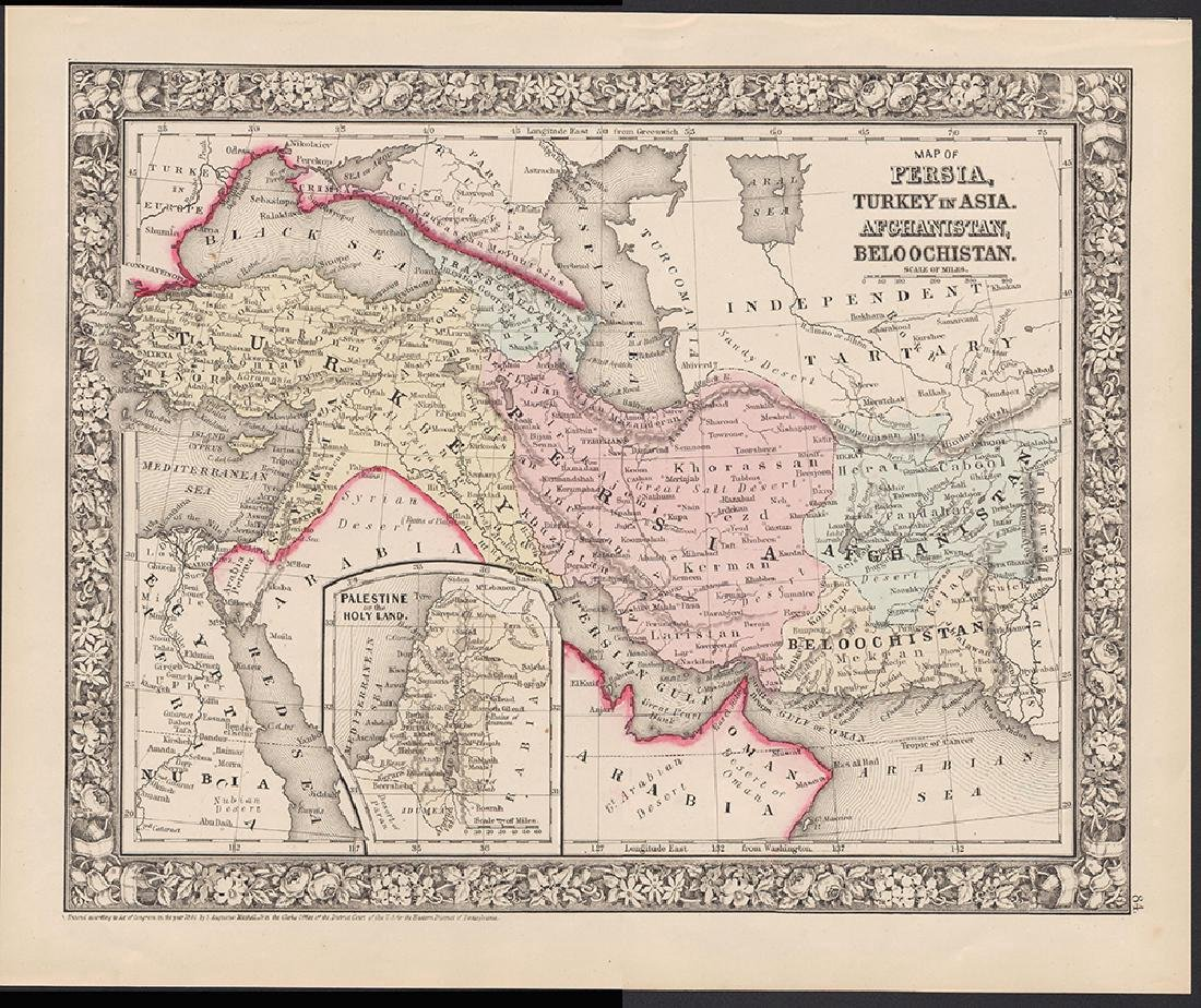 1860 map of Persia, Turkey, Afghanistan and