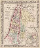 1864 hand-colored map of Palestine by S. Augustus