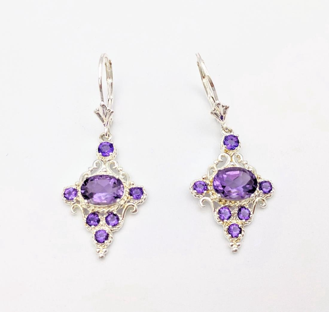 Sterling Silver Victorian Style Earrings with Amethyst