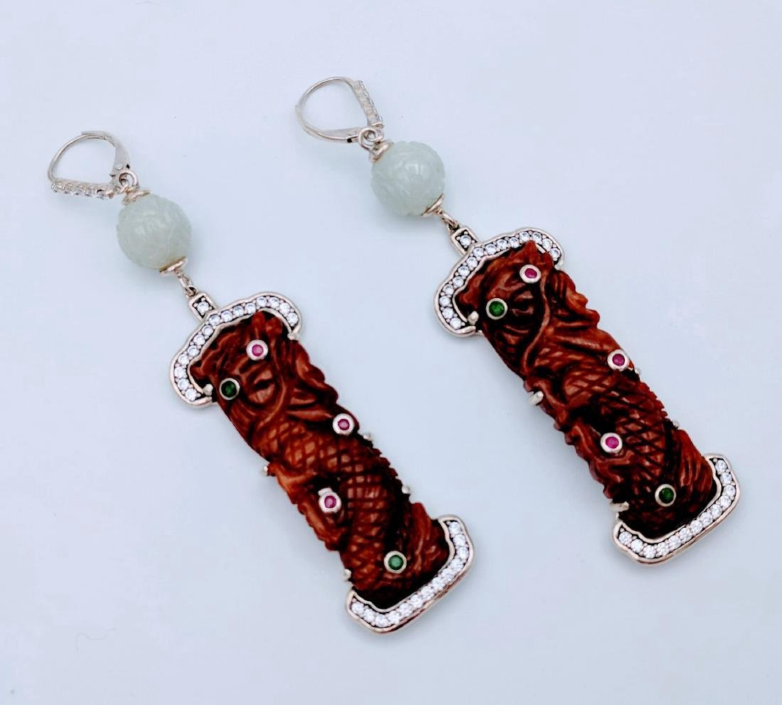 Sterling Silver Dangling Dragon Designed Earrings with