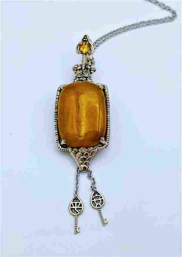 Sterling Silver Necklace and Pendant with Yellow Jade,