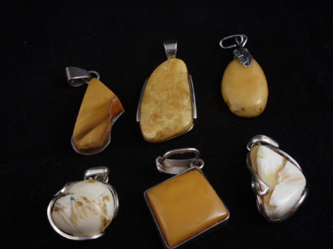 Lot 6 pendants silver sterling with Amber Baltic total