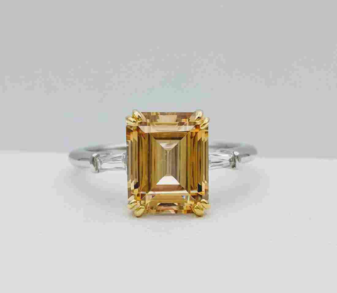 Sterling Silver Golden Citrine Ring with Gold Plated
