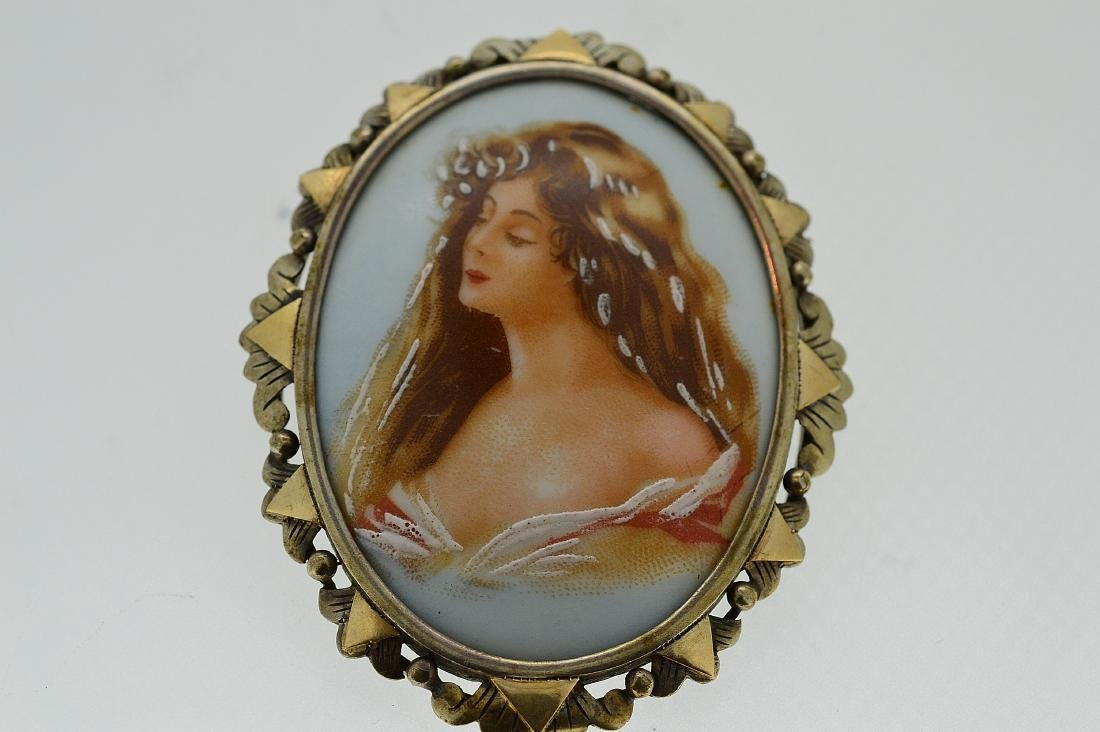 Vintage German or French 19th Century Hand-Painted Pin