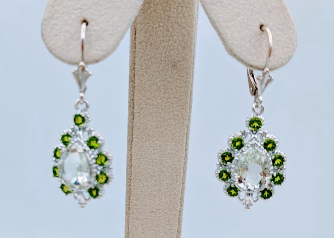 Sterling Silver Dangling Demantoid Garnet Earrings with