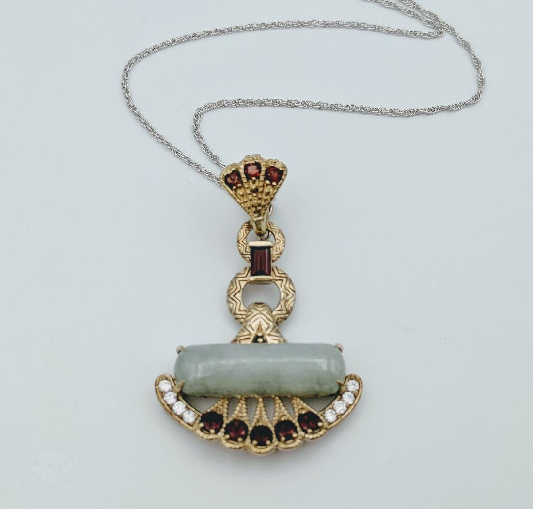 Sterling Silver Imperial Designed Pendant with Jade,