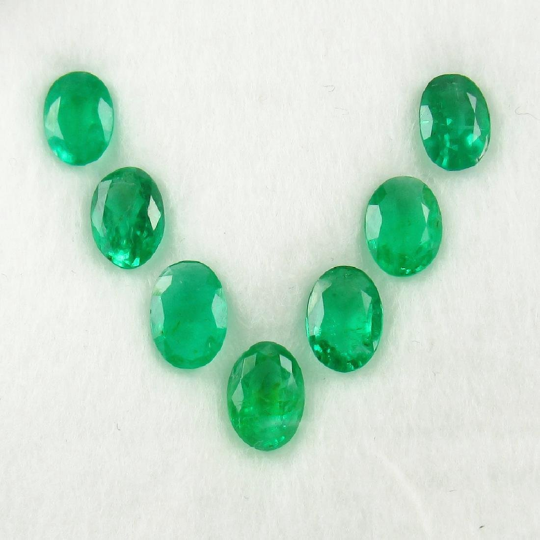 4.05 Ctw Natural Loose Emerald Oval Necklace Set