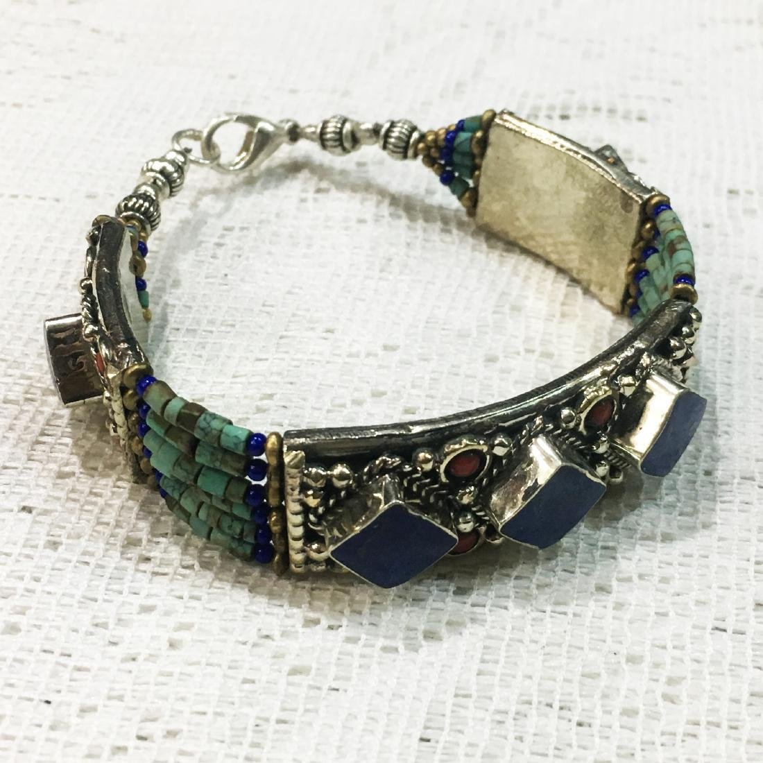 Nepali Tibetan Turquoise & Lapis Gemstone Bracelet