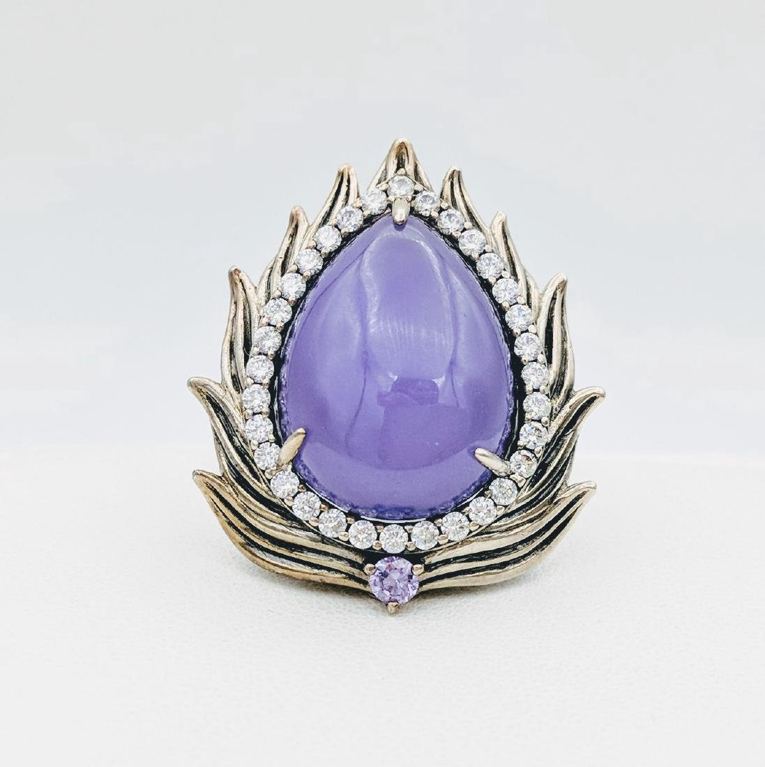 Sterling Silver Imperial Designed Violet Jade Ring with