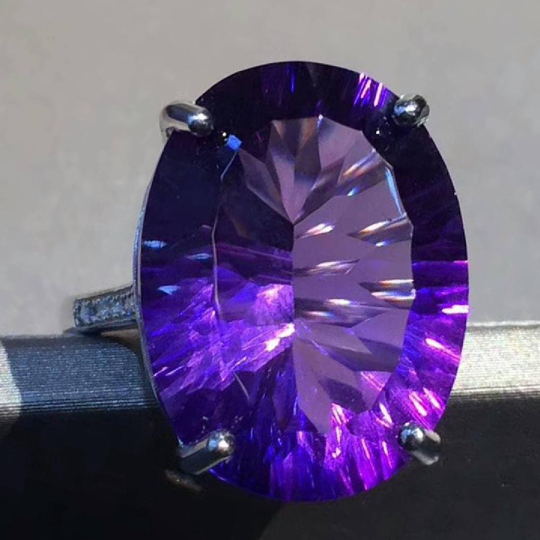 Sterling Silver Amethyst Diamond Ring