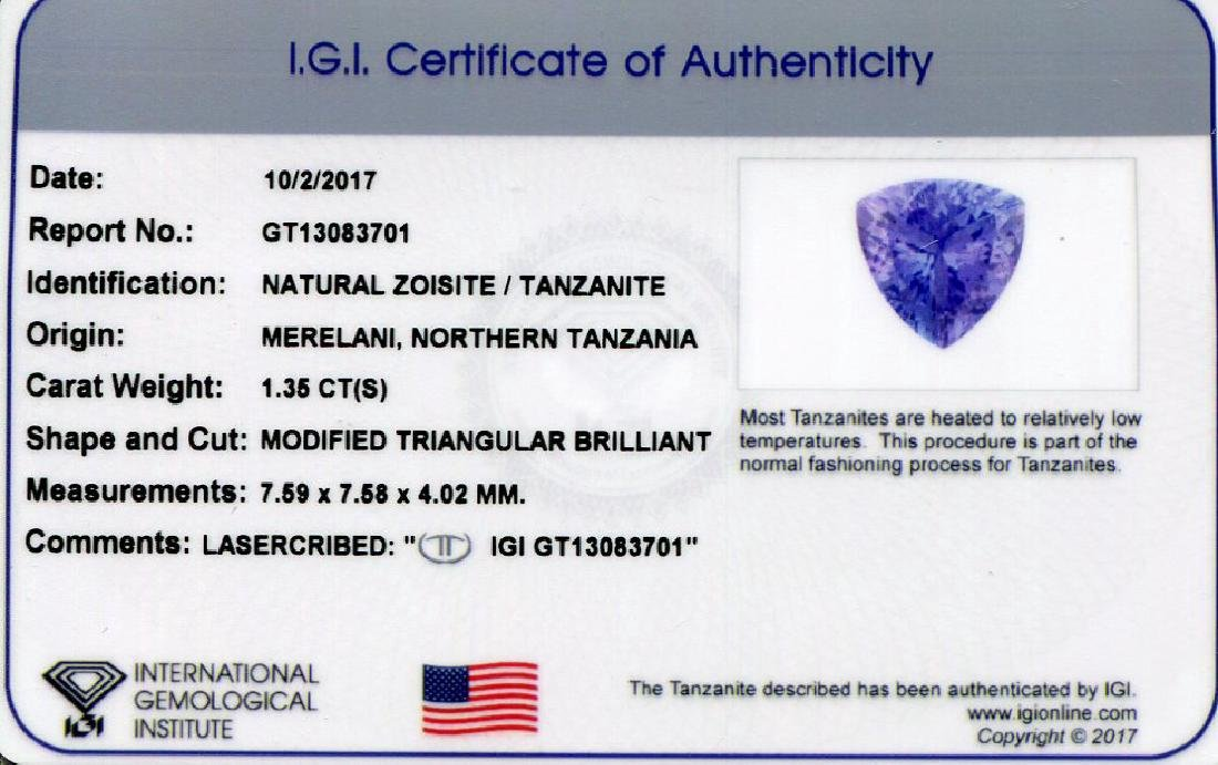 1.35 ct Trillion IGI Certified Tanzanite - No Reserve