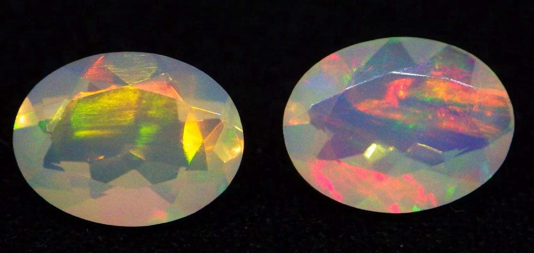 1.20ct Pair 8x6 Faceted Oval Opal