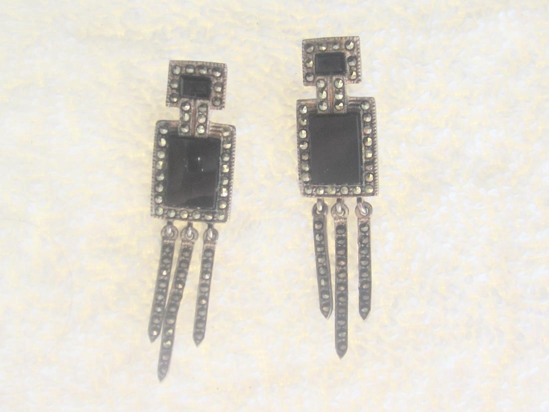 Vintage Sterling Marcasite Black Oynx Earrings