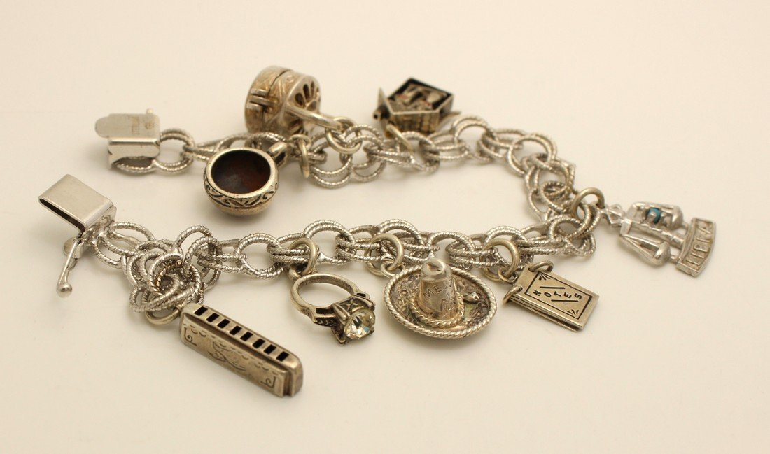 """Vintage Sterling Charm Bracelet 7"""" Libra Marriage"""