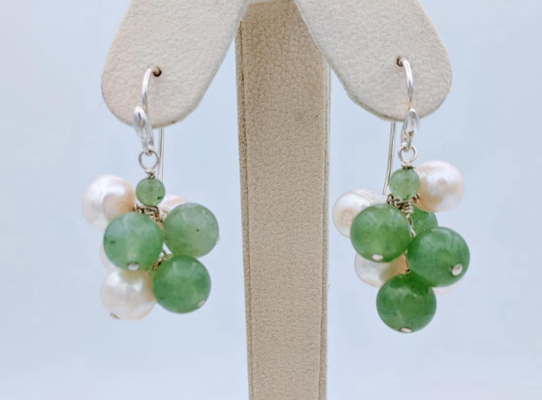 Sterling Silver Clustered Pearl and Jade Earrings