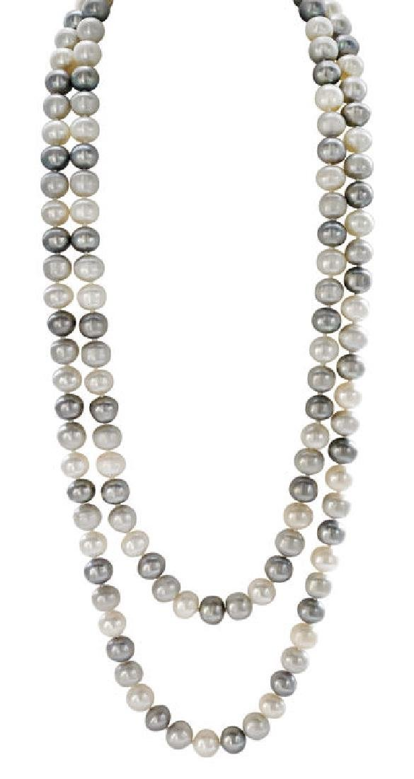Long White and Grey Freshwater Pearl Necklace