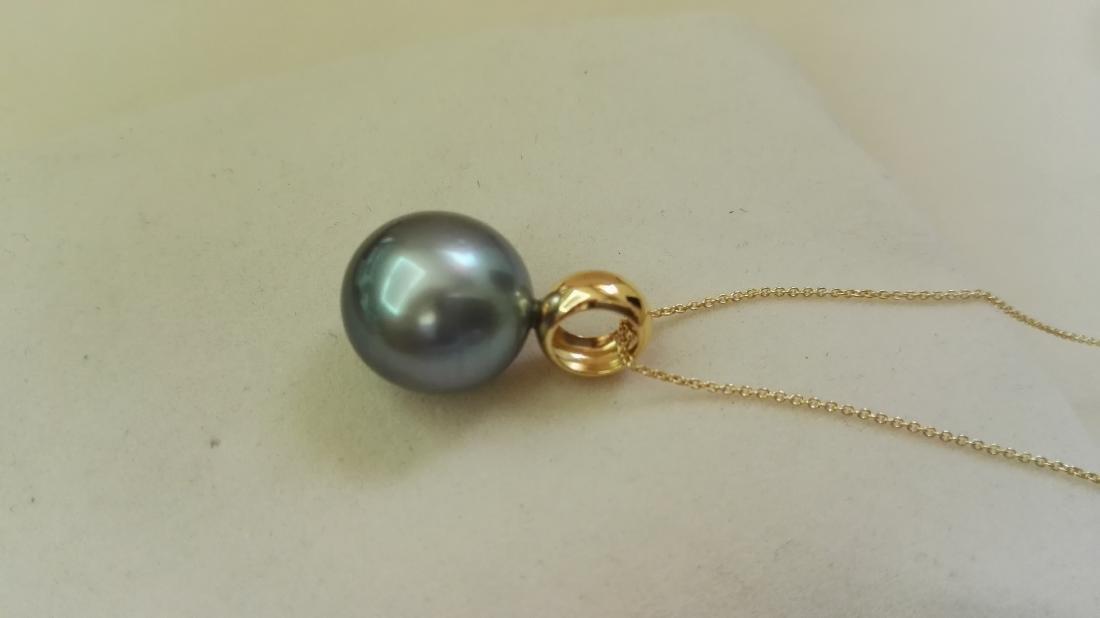 Tahitian Pearl dark natural color pendant