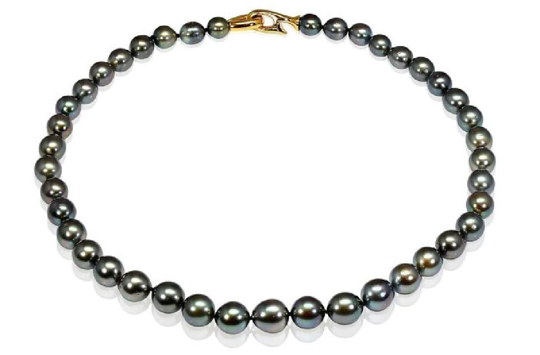 Lustrous 8-11 mm Tahitian Pearl Necklace Set with a