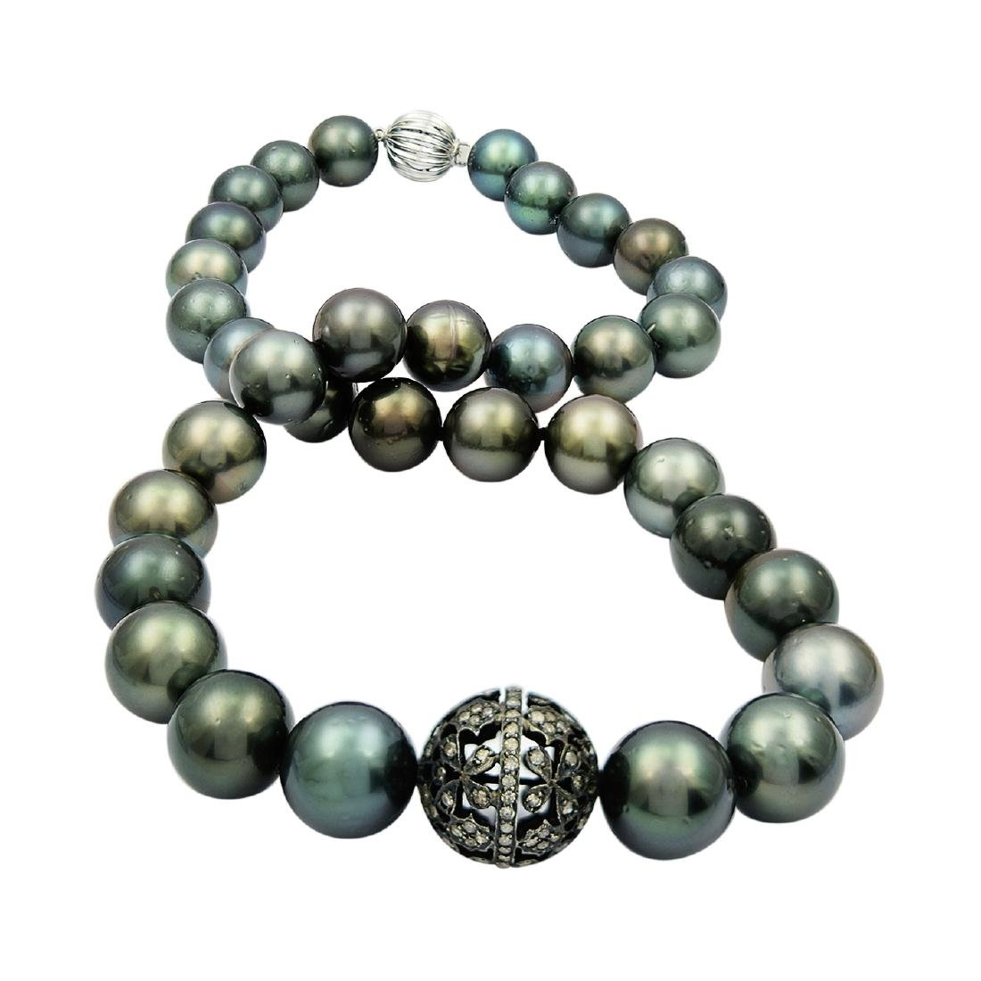 11.0mm to 13.5mm Tahitian Pearl and 1.25ctw Diamond