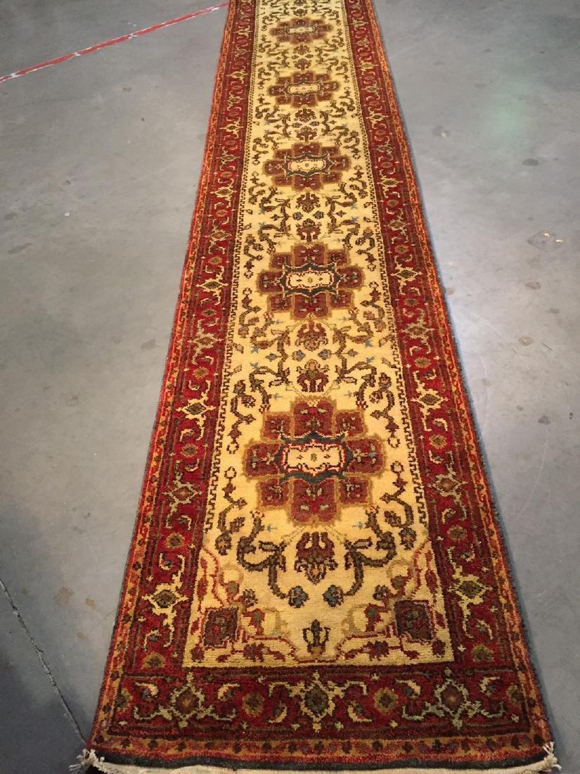 Hand Knotted Wool Heriz Design Long Runner Rug 2.6x16