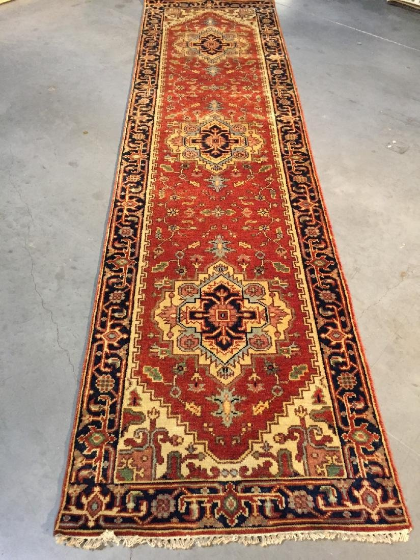 Magnificent Hand-knotted Serapi Wool Runner Rug 3x10
