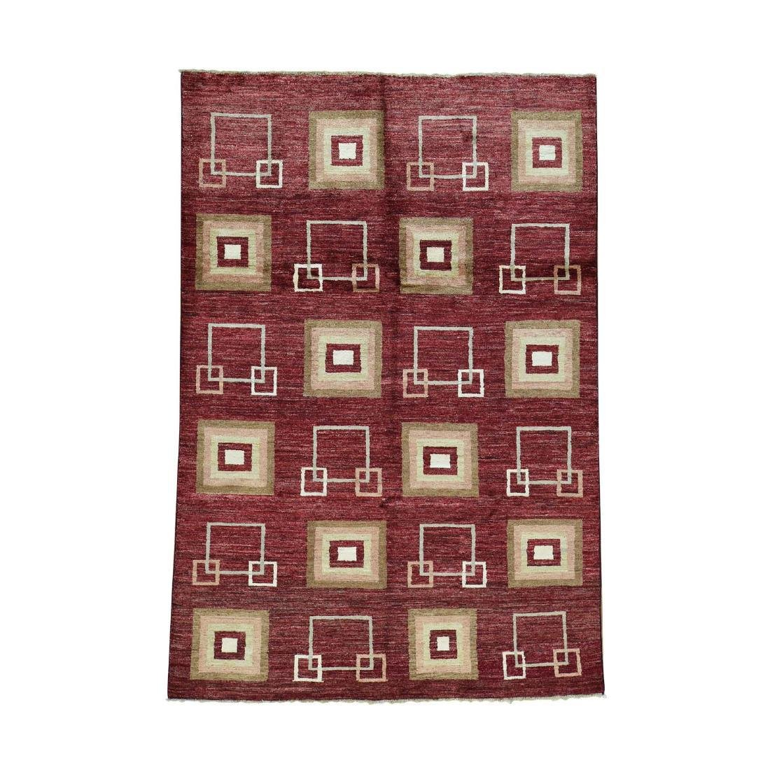 5.4x8. Modern Gabbeh Hand-knotted Pure Ghazni Wool Rug