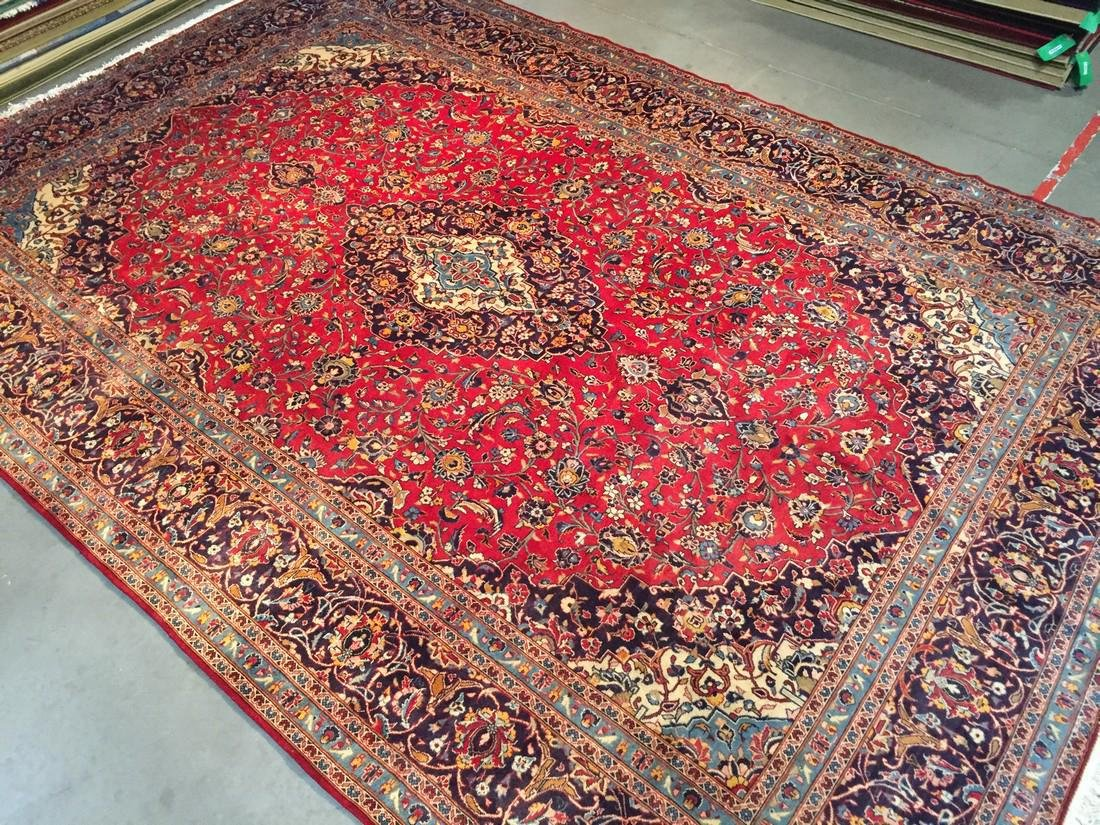 Persian Kashan Hand Knotted Wool Rug 10x14