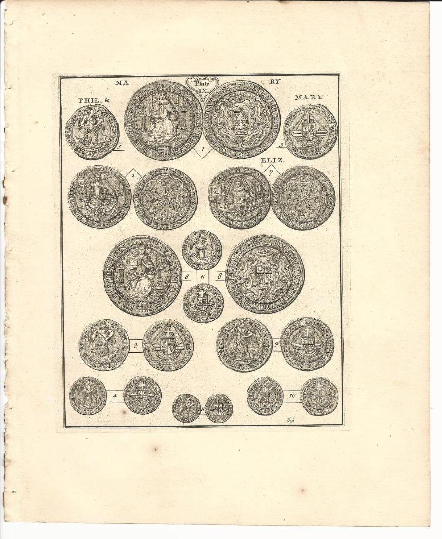 1763 Engraving of Elizabethan English Coins