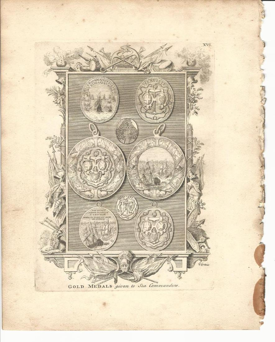1753 Engraving of Medals to Sea Commanders