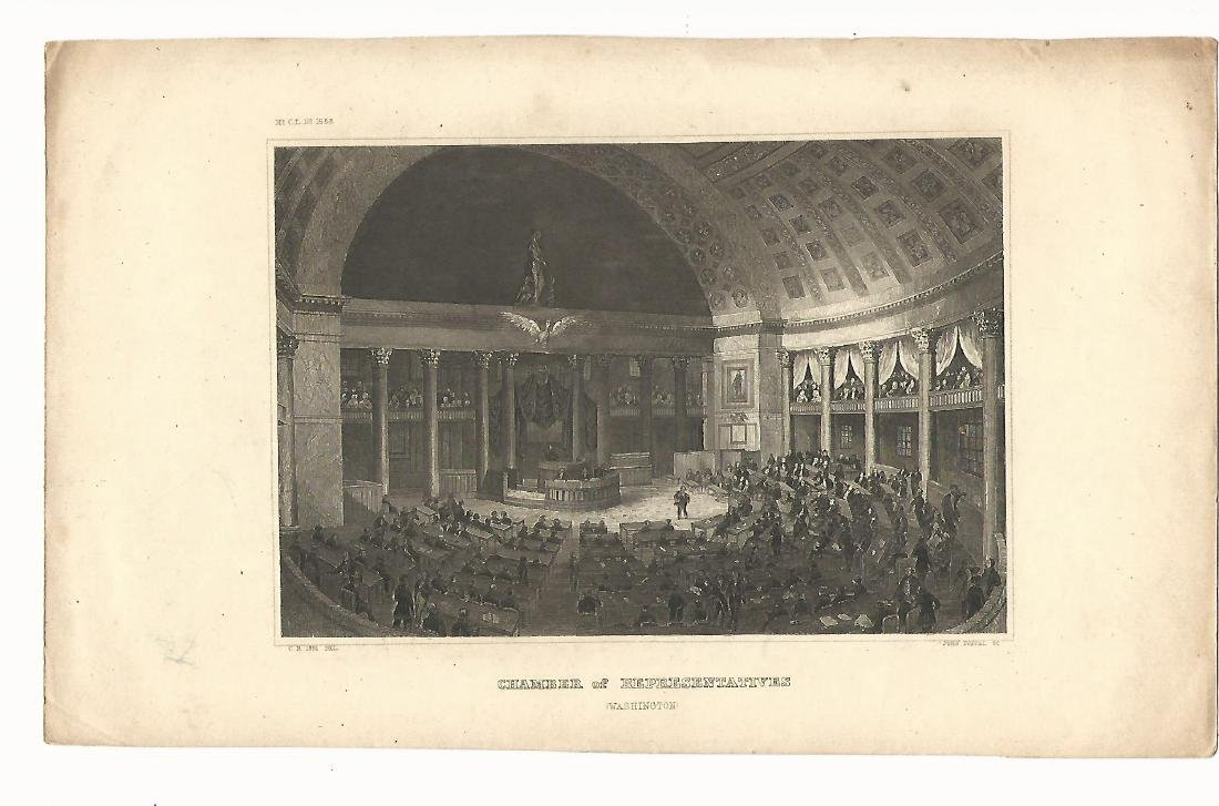 1851 Steel Engraving US House of Representatives