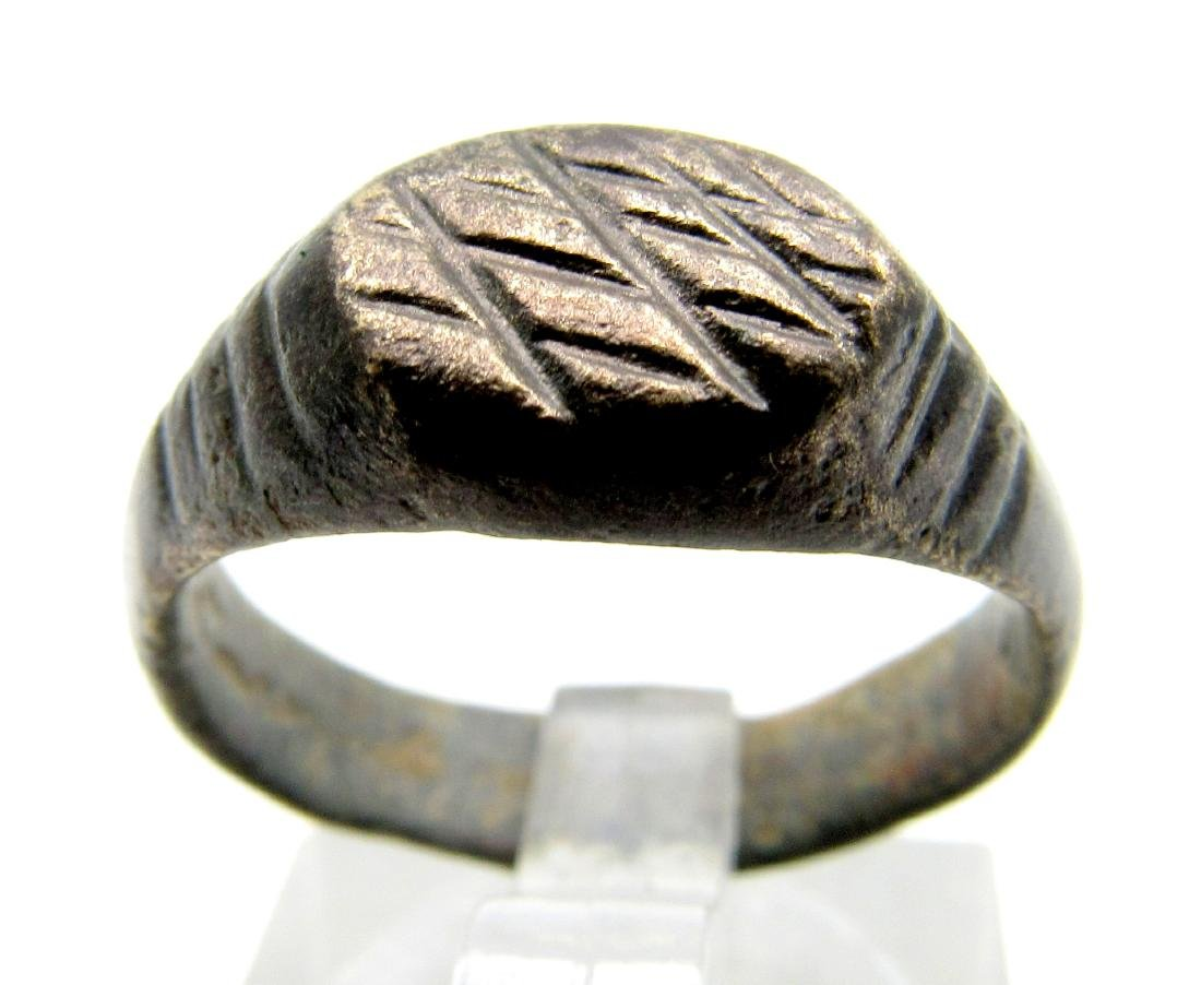 Medieval Monks Ring with criss-cross Pattern
