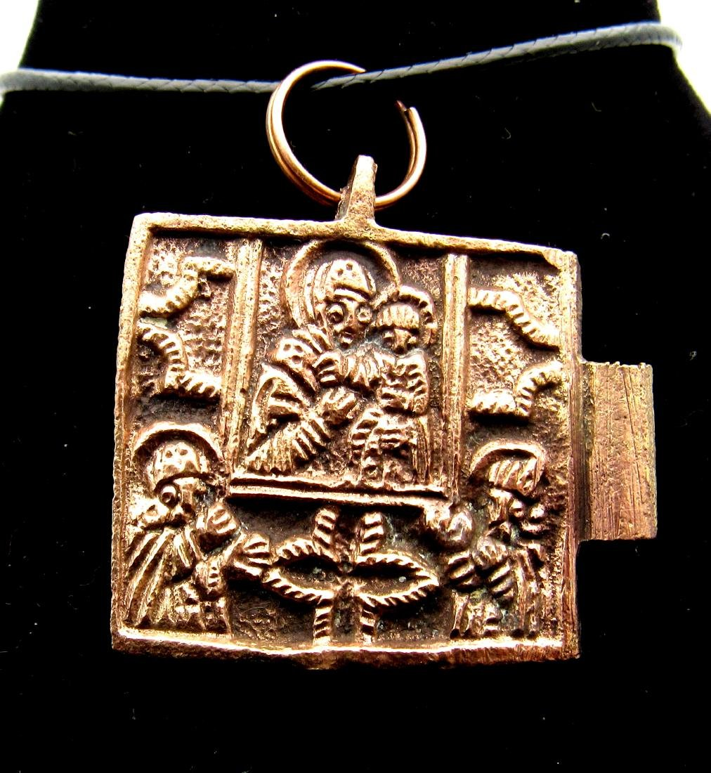 Medieval Bronze Icon- Mother Mary and Baby Jesus