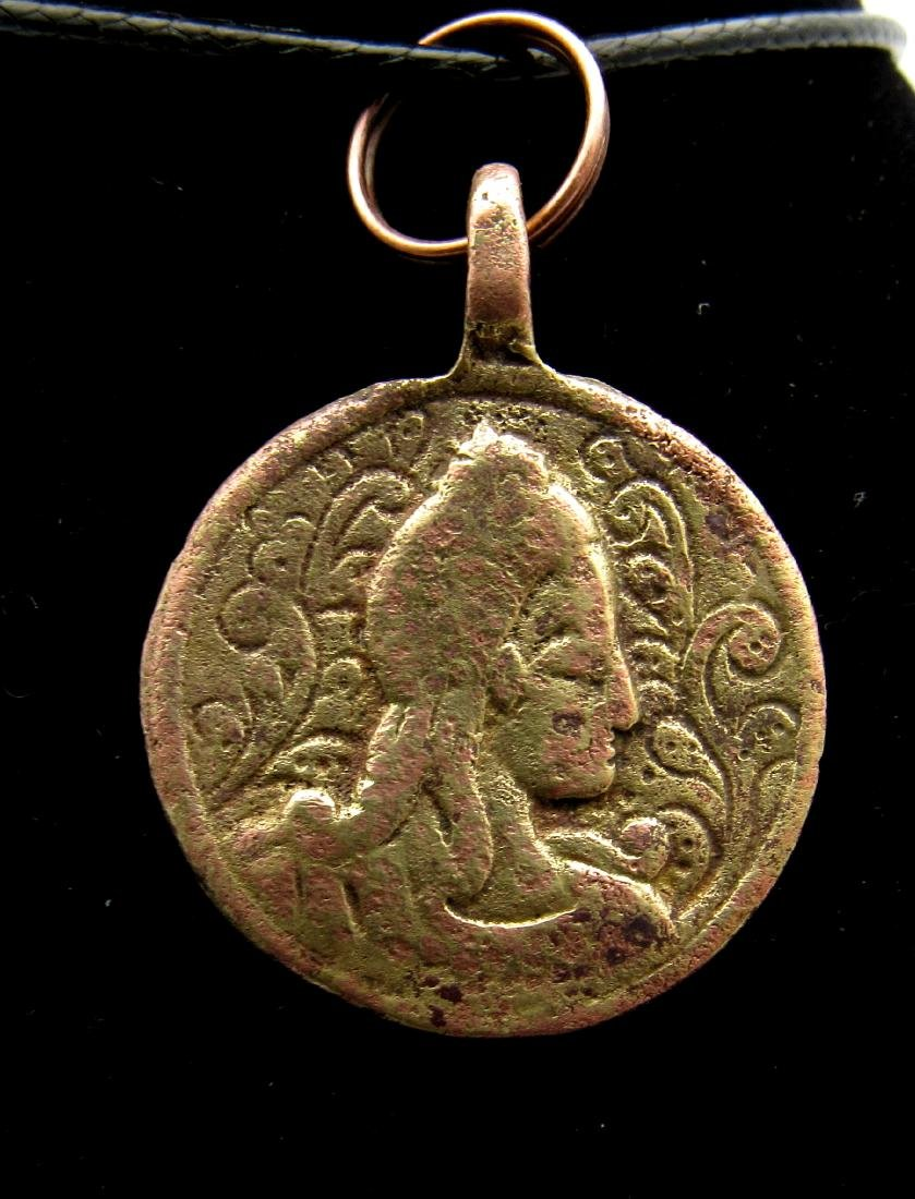Post Medieval Religious Pendant with Catherine the