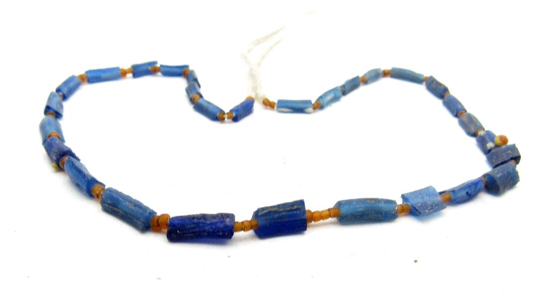 Medieval Blue Glass Necklace  - 29 Beads