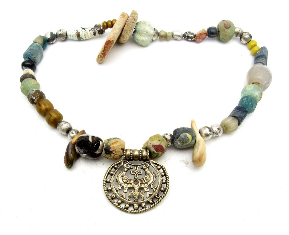 Viking Glass/Stone Necklace with Pendant
