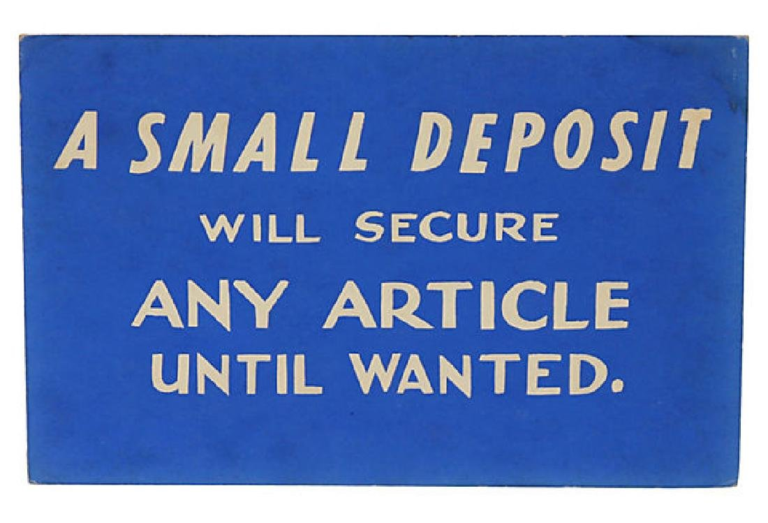 A Small Deposit Sign