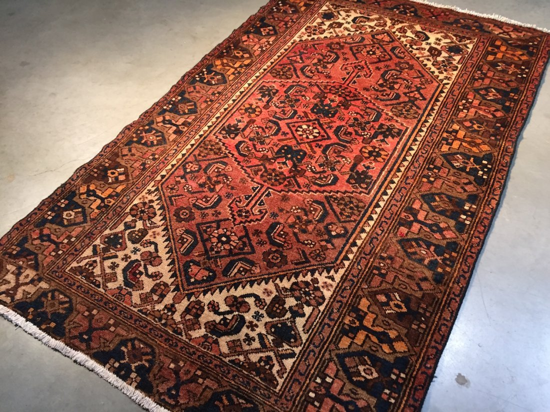Antique Hand Knotted Wool Persian Rug 4.2x7