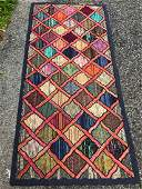 Antique American Hooked Rug 2.9x5.8 1910