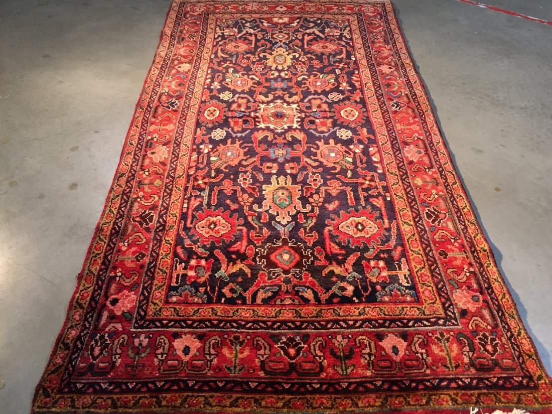 Hand Knotted Wool Persian Hamedan Rug 4.4x8.3