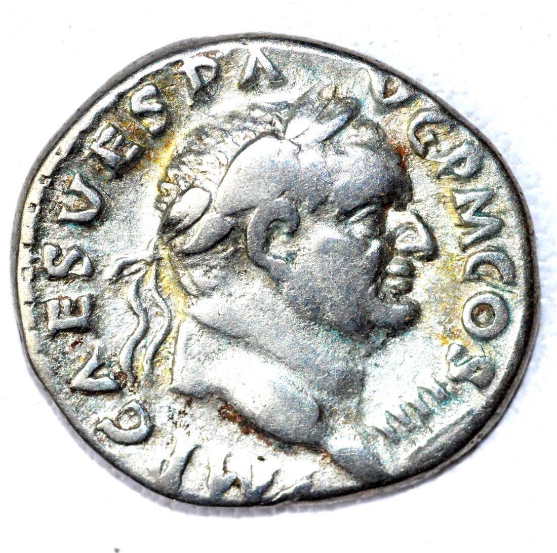 Roman AR Denarius of Vespasian, rv, Tools