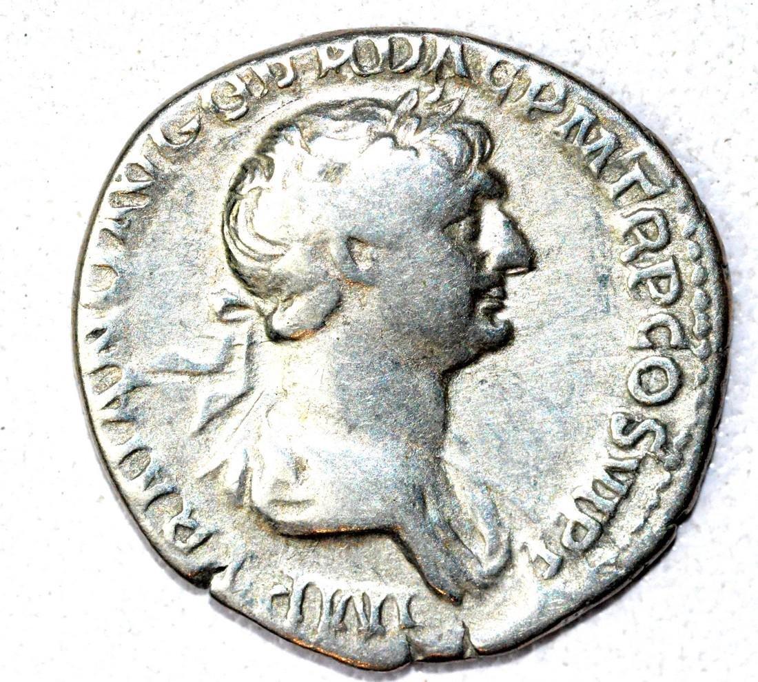 Roman AR Denarius of Trajan, rv. SPQR
