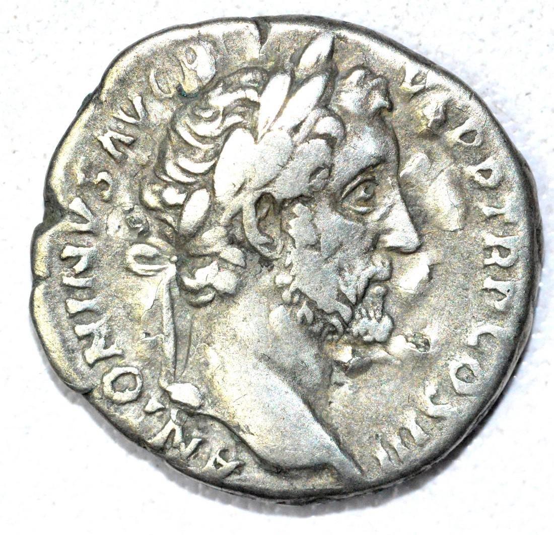 Roman Denarius of Antoninus Pius, rv. Salus