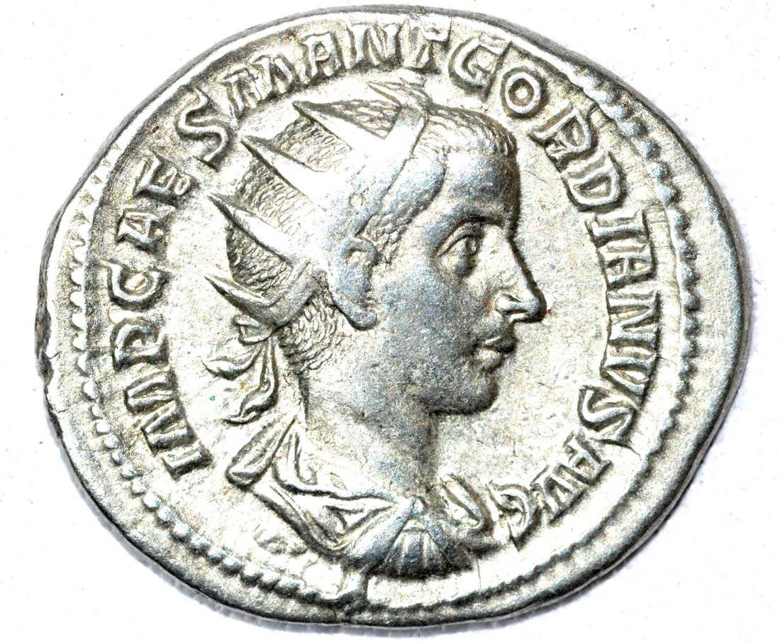 Roman AR Radiate of Gordian III, rv. Virtus