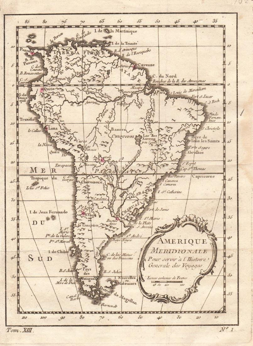 Bellin: Antique Map of South America, 1754