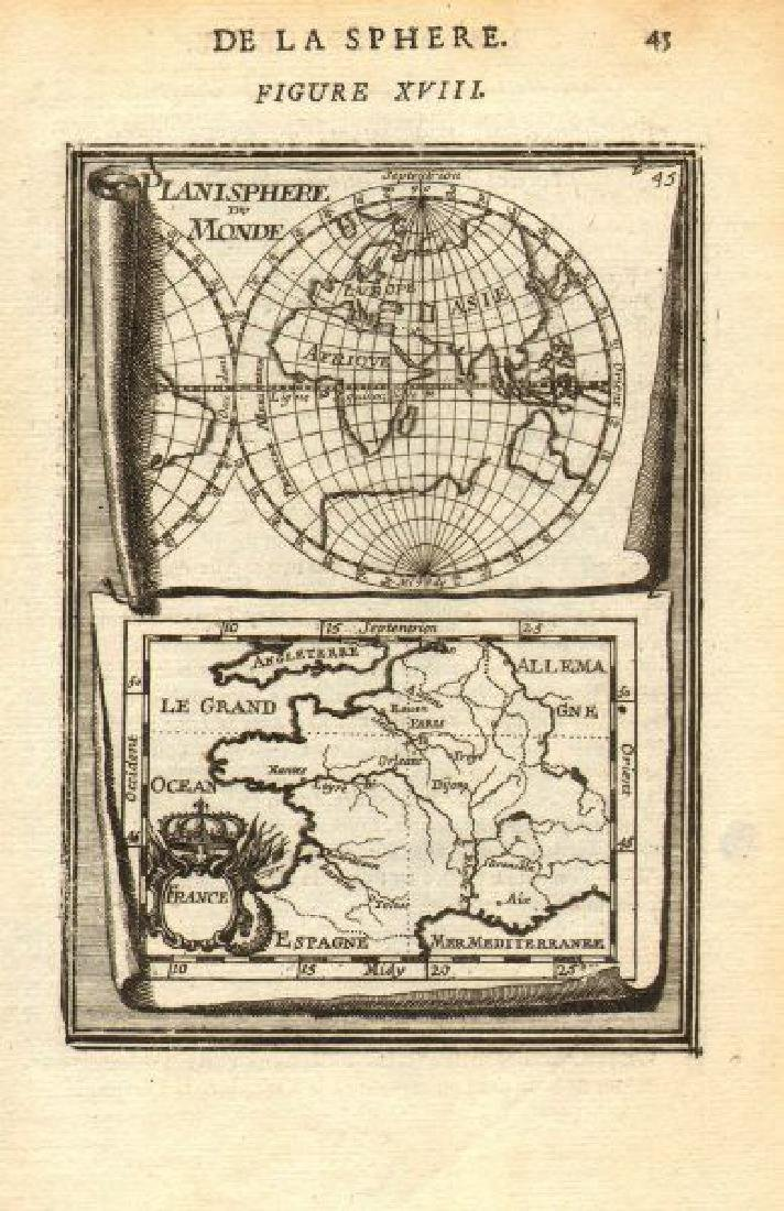 Mallet: Antique Map of the World/France, 1683