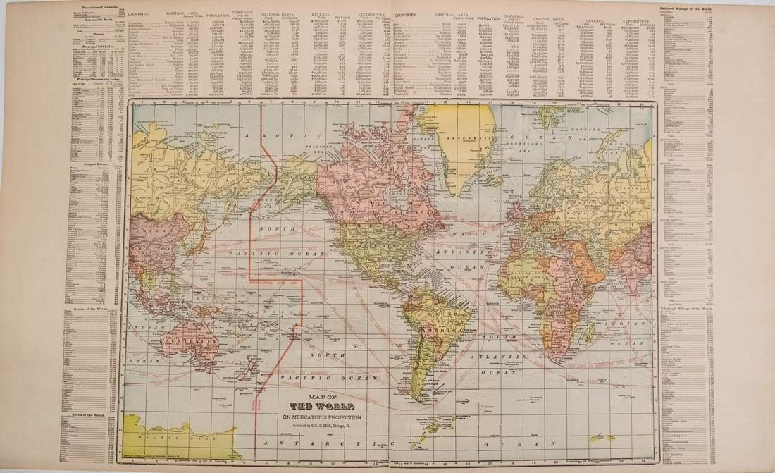 Cram: Antique Map of the World Map, 1895