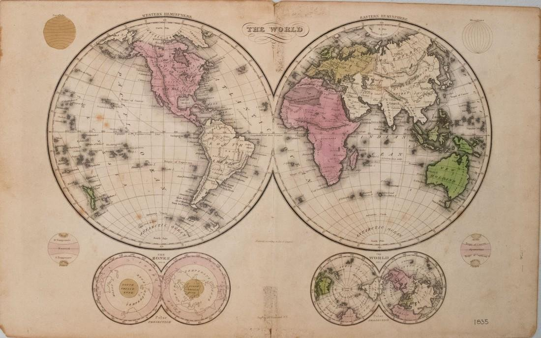 Hammond: Antique Map of the World Map, 1835
