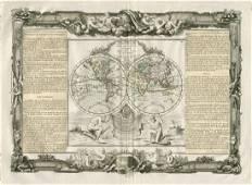 Desnos/de la Tour: Antique Map of World in Hemispheres