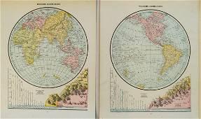Cram: Antique Double Hemisphere World Map, 1891