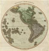 Thomson: Antique Map of the Western Hemisphere, 1817